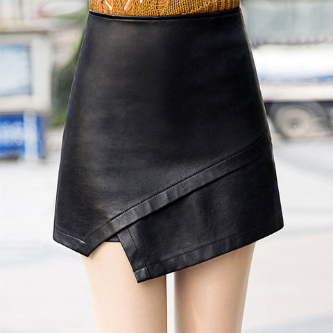 Geometric PU Leather High Waist