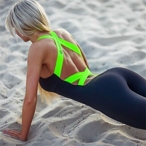 One Piece Criss Cross Back Workout Jumpsuit
