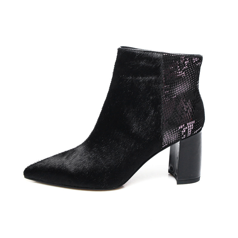 70c30309c29b7 Black Mohair and Snakeskin Genuine Leather Ankle Boots – THULI NYC