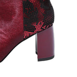 Wine Red Mohair and Snakeskin Genuine Leather Ankle Boots
