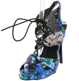 BLUE FLORAL PYTHON LACE UP CAGED HEEL