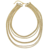 Torques Gold Multilayered Winding Pipe Choker Necklace