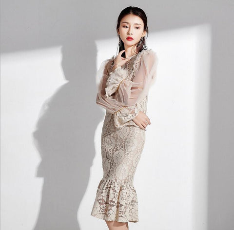 Lantern Sleeve Lace Top + Fishtail Skirt Solid Skirt Suit