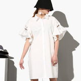 Petal Sleeve Short Sleeve Three-Dimensional Cartoon Shirt Dress