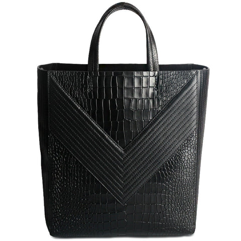 Crocodile Embossed Genuine Leather Handbag