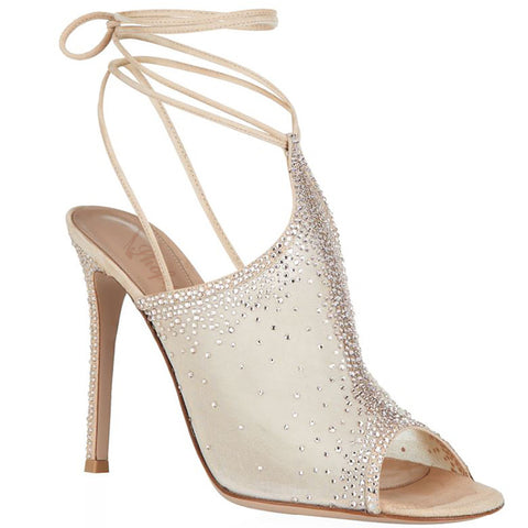 Genuine Leather Beige Mesh Rhinestone Decorated Peep Toe Ankle Strap Pumps