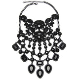 Black Crystal Victorian Pendant Choker Necklace