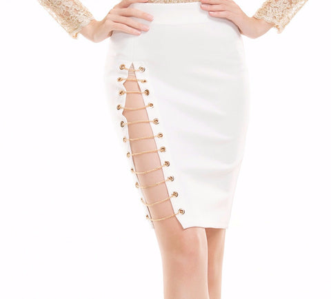 Gold Chain Cut Out Side High Slit Pencil Slim Skirt