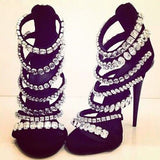 The Glitz and Glam Collection Luxury Cystal Straps Sandals