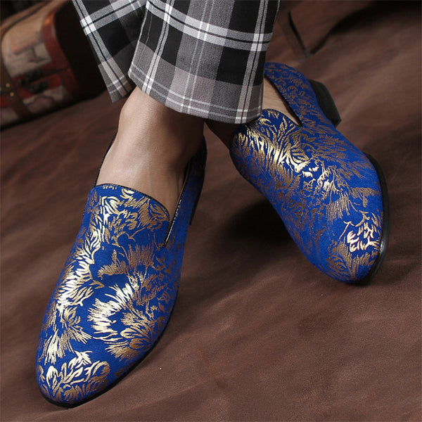 Hand Painted Patent Leather Luxury Gold Pattern Loafers