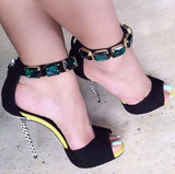 Luxury Green Crystal Ankle Wrap Sandals