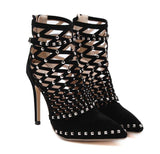 Luxury Studded Rivets Cut Out Ankle Boots