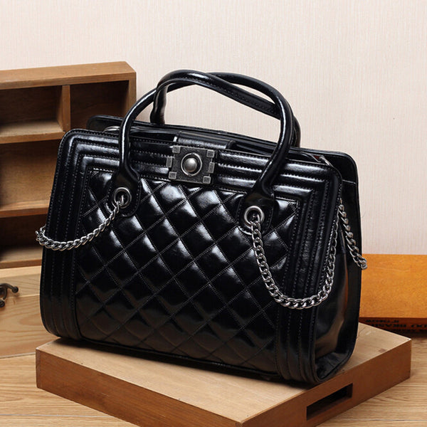Luxury Genuine Leather Vintage Quilted Handbag