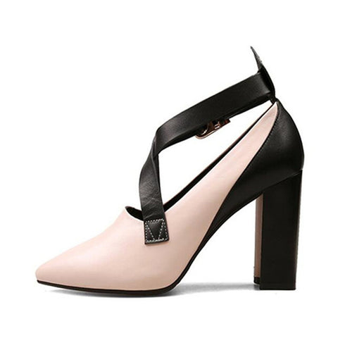 d6efa3fb8b1 Handmade Genuine Leather Two Toned Block Heel Pumps.  135.99 USD