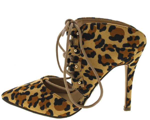 LEOPARD LACE-UP POINTED TOE STILETTO MULES