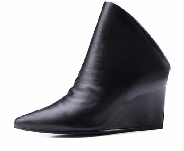 Genuine Leather Open Back Pointed Toe Slip On Boots