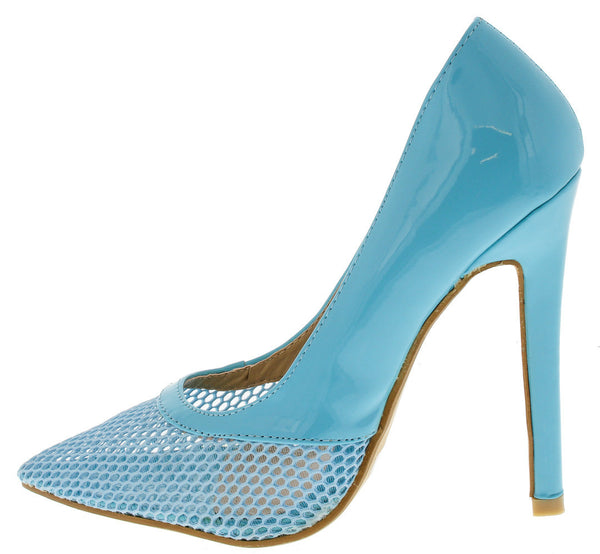 BLUE MESH POINTED TOE HEEL
