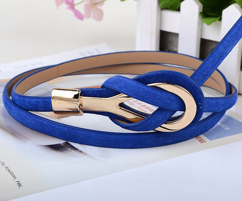 Metal Buckle Gold Slim Leather Belt