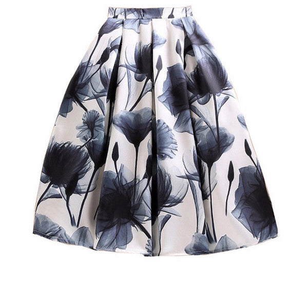The Grey High Waist Pleated A-Line Skirt