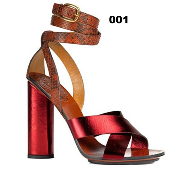 Genuine Leather and Snake Layered Block Heeled Sandals
