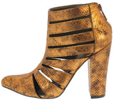 SHEA BRONZE SNAKE CUT OUT CAGED HEELS
