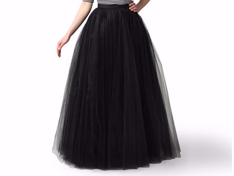 3 Layers Mesh Pleated Ball Gown Flared Tutu Tulle Skirt