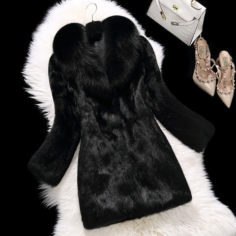 Turn Down Collar Rabbit Fur Slim Knee Length Coat