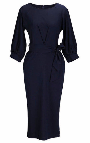Must Be A Lady Puff Sleeve Round Neck Tie Waist Dress