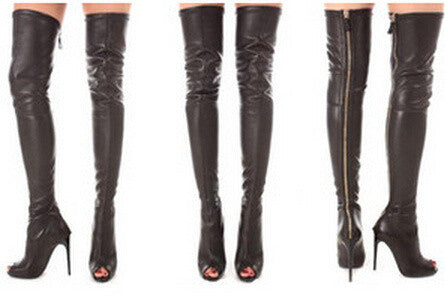 Pillage Peep Toe Thigh High Boots