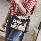 Cartoon Mickey Canvas and  Leather Lock Handbag