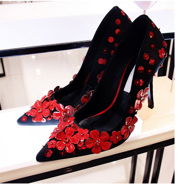 Flower Power Genuine leather Red Bottom High Heel Pumps