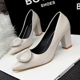 Patent Leather Round Buckle Pointed Toe Thick High Heels