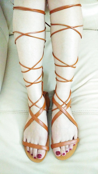 Lace Up Knee High Boots Gladiator Casual Flats