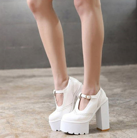T-Buckle Punk Wedge Thick High Heels