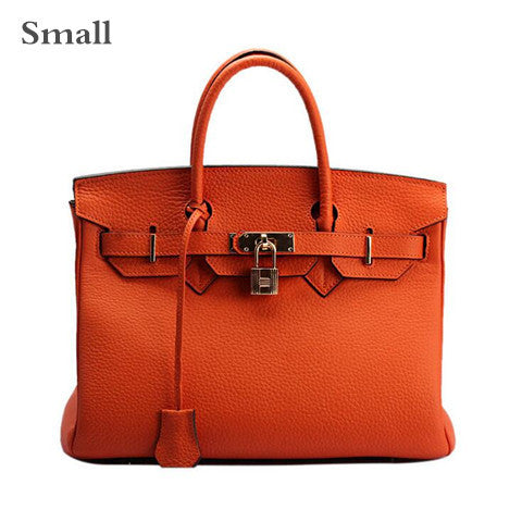 Luxury Genuine Leather Platinum Lock Handbag