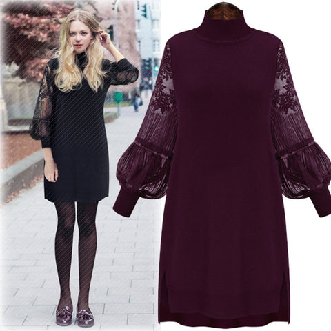 Lantern Long Sleeve Vintage Turtleneck Knit and Lace Pencil Dress
