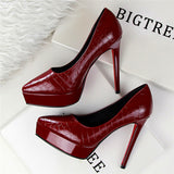 Patent Leather Red Bottom Moc-Croc Platform Pumps