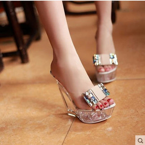 Cinderella Transparent Glass Sweet Diamond Crystal High Heel Wedge Slippers