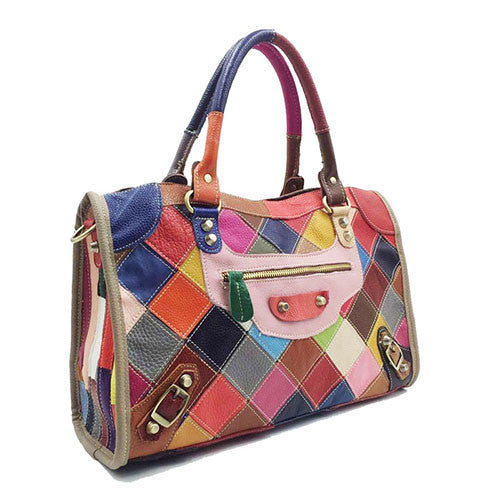 Multicolor Genuine Leather Patchwork Rainbow Colored City Tote
