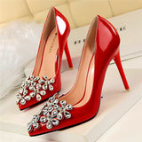 Patent Leather and  Rhinestones Pointed Toe High Heel Pumps