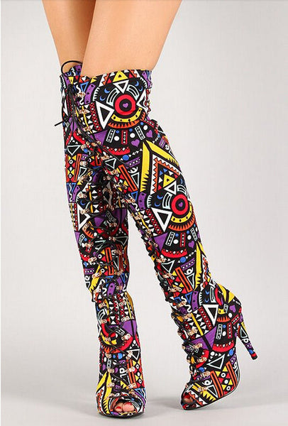 Tribal Multicolor Lace Up Peep Toe Thigh High Boots
