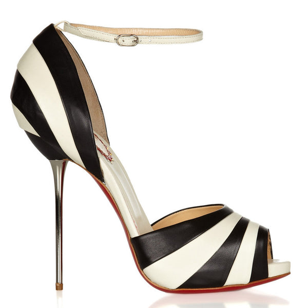 Super Thin Heel Genuine Leather Striped Heels