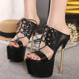 Steel Heel Rivet Lace up Platform High Heel Mules