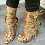Gold Lace-up Strappy Gladiator Sandals