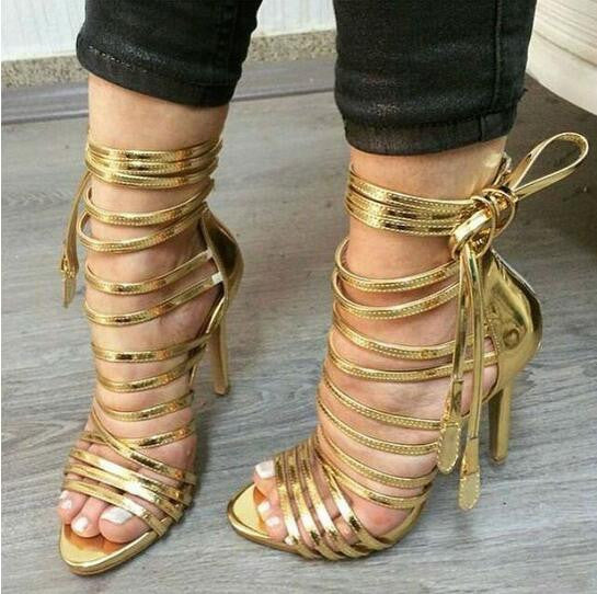 136bce31961 Gold Lace-up Strappy Gladiator Sandals – THULI NYC