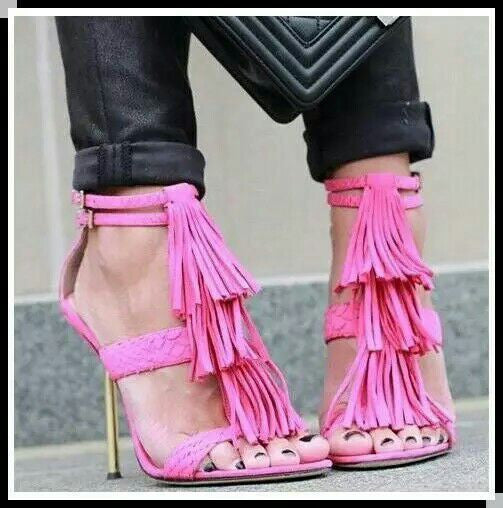 Suede Leather Tassels High Heel Sandals