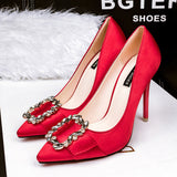 Elegant Rhinestone Buckle Satin High Heel Pumps