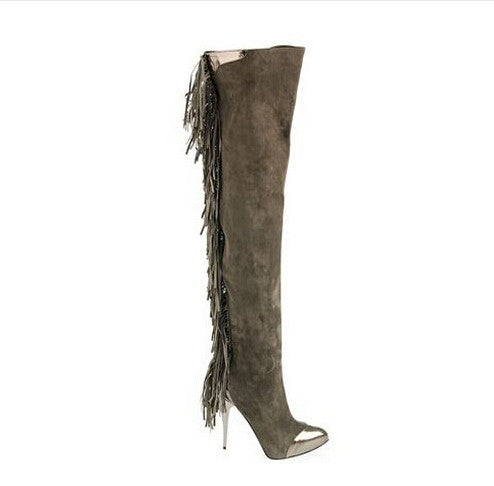 Suede Leather Bordered Steel Tip Toe Fringe Tassel Thigh High Boots