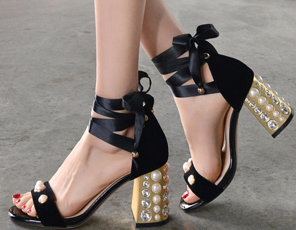 Crystals and Pearls Velvet Bock Heel Sandals