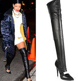 Pointed Toe Cut-outs Over-the-knee Boots Celebrity Inspired Black Leather Thigh High Boots